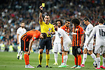 Shakhtar Donetsk´s Maksym Malyshev receives a yellow card during Champions League soccer match between Real Madrid and Shakhtar Donetsk at Santiago Bernabeu stadium in Madrid, Spain. Spetember 15, 2015. (ALTERPHOTOS/Victor Blanco)