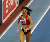 10th February 2019, Arena Birmingham, Birmingham, England; Spar British Athletics Indoor Championships; Amy Odunaiya competes in the women's 200m during Day Two of the Spar Indoor Athletics Championships at Birmingham Arena