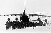 "United States Department of Defense released its 1985 assessment of Soviet Military Power at the Pentagon in Washington, DC on April 2, 1985.  The release stated ""Il-76 / CANDID Transport aircraft loading troops. This aircraft increases the USSR's airlift capabilities.""<br /> Credit: Department of Defense via CNP"