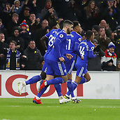 2nd February 2019, Cardiff City Stadium, Cardiff, Wales; EPL Premier League football, Cardiff City versus AFC Bournemouth; Cardiff City players run off in celebration after Bobby Reid's penalty puts them 1-0 up in the 6th minute