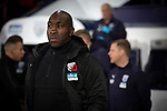 Home manager Darren Moore watching the pre-match rituals before West Bromwich Albion take on Leeds United in a SkyBet Championship fixture at the Hawthorns. Formed in 1878, the home team were relegated from the English Premier League the previous season and were aiming to close the gap on the visitors at the top of the table. Albion won the match 4-1 watched by a near-capacity crowd of 25,661.