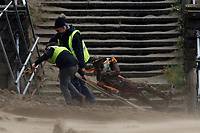 Pictured: Workers remove a sculpture from the beach in Swansea Bay, Wales, UK. Thursday 20 September 2018<br /> Re: Heavy rain and strong winds brought by Storm Bronagh has hit parts of the UK.