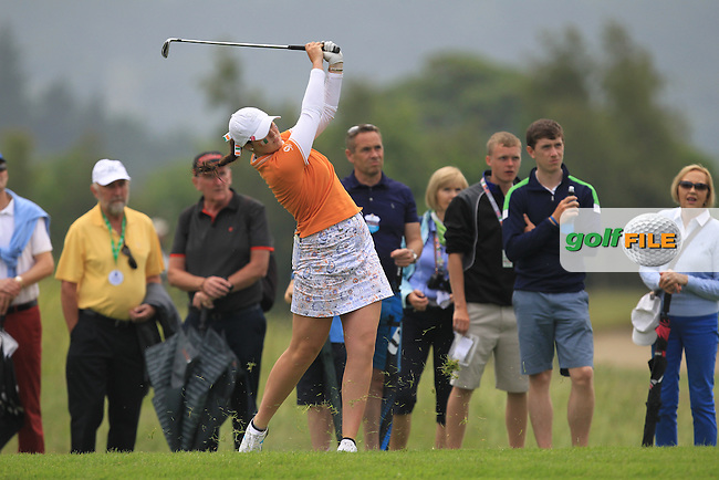 Olivia Mehaffey on the 14th during the Saturday Mourning Fourbsomes of the 2016 Curtis Cup at Dun Laoghaire Golf Club on Saturday 11th June 2016.<br /> Picture:  Golffile | Thos Caffrey