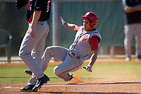 Indiana Hoosiers right fielder Laren Eustace (23) slides into home during a game against the Illinois State Redbirds on March 4, 2016 at North Charlotte Regional Park in Port Charlotte, Florida.  Indiana defeated Illinois State 14-1.  (Mike Janes/Four Seam Images)
