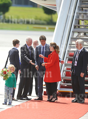 July 06-17,HH Airport, Hamburg,Germany<br /> G20 world leaders arrival at Hamburg Airport.<br /> Canadian Prime Minister Justin Trudeau (m), his wife Sophie Gregoire and his son Hadrian arrive at the airport in Hamburg