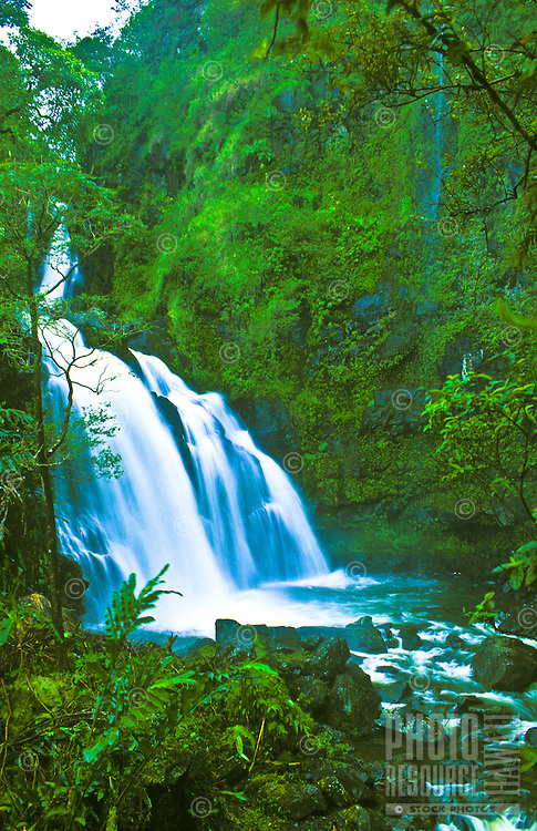 Large waterfall in rainforest off the Hana highway, east Maui