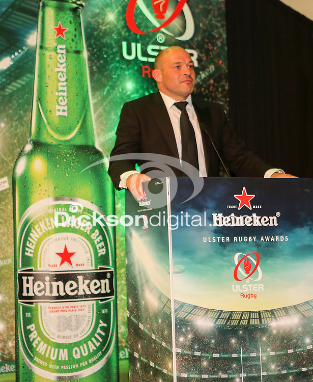 Thursday 10th May 2018   Ulster Rugby Awards 2018<br /> <br /> Ireland and Ulster captain Rory Best presents a Special Recognition Award to Norman Pollock (AKA Sparky, during the 2018 Heineken Ulster Rugby Awards at La Mom Hotel, Belfast. Photo by John Dickson / DICKSONDIGITAL