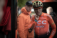 Greg Van Avermaet (BEL/CCC) showing some proof of a crash. <br /> <br /> 105TH Liège-Bastogne-Liège 2019 (1.UWT)<br /> 1 Day Race Liège-Liège  (256km)<br /> <br /> ©kramon