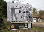 Sign outside Amesbury History Centre, Wiltshire, England, UK