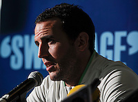 24th May 2014;  Republic of Ireland Captain John O'Shea during a press conference ahead of their 3 International Friendly against Turkey on Sunday. Republic of Ireland Press Conference, Airside Ford, Swords, Co. Dublin. Picture credit: Tommy Grealy/actionshots.ie.