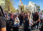 """About 800 people gathered at McClatchy Park in Sacramento, California on Sunday, November 13, 2016 to rally and march in protest of President Elect Donald Trump.  The organizers called their rally/march """"Dump Trump! Not Our President"""" and the crowd marched from the park through residential streets and business areas and on to the freeway momentarily stopping traffic on Business 80 before returning to the streets and marching to Sutter Park.  Photo/Victoria Sheridan 2016"""