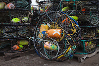 Stacks of Crab Pots, Crabbing Traps, Port of Astoria, Oregon