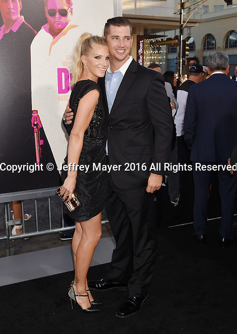HOLLYWOOD, CA - AUGUST 15: Actress Heather Morris (L) and husband/baseball player Taylor Hubbell arrive at the Premiere Of Warner Bros. Pictures' 'War Dogs' at TCL Chinese Theatre on August 15, 2016 in Hollywood, California.