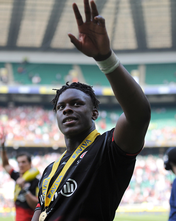 Maro Itoje of Saracens celebrates winning the Aviva Premiership Rugby Final between Saracens and Exeter Chiefs at Twickenham Stadium on Saturday 28th May 2016 (Photo: Rob Munro/Stewart Communications)