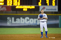 Reed Rohlman (26) of the Burlington Royals stands on second base during the game against the Danville Braves at Burlington Athletic Stadium on August 14, 2017 in Burlington, North Carolina.  The Royals defeated the Braves 9-8 in 10 innings.  (Brian Westerholt/Four Seam Images)