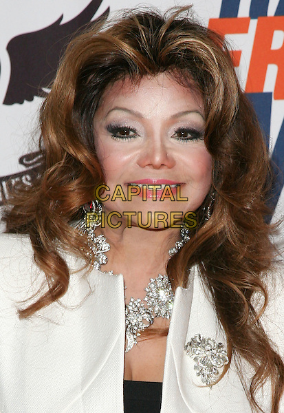 LA TOYA JACKSON.The 18th Annual Race To Erase MS Gala held at The Hyatt Regency Century Plaza Hotel in Century City, California, USA. .April 29th, 2011.headshot portrait white diamond necklace make-up beauty                                                                          .CAP/RKE/DVS.©DVS/RockinExposures/Capital Pictures.