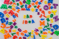 Words Bad Idea  in magnets on refrigerator