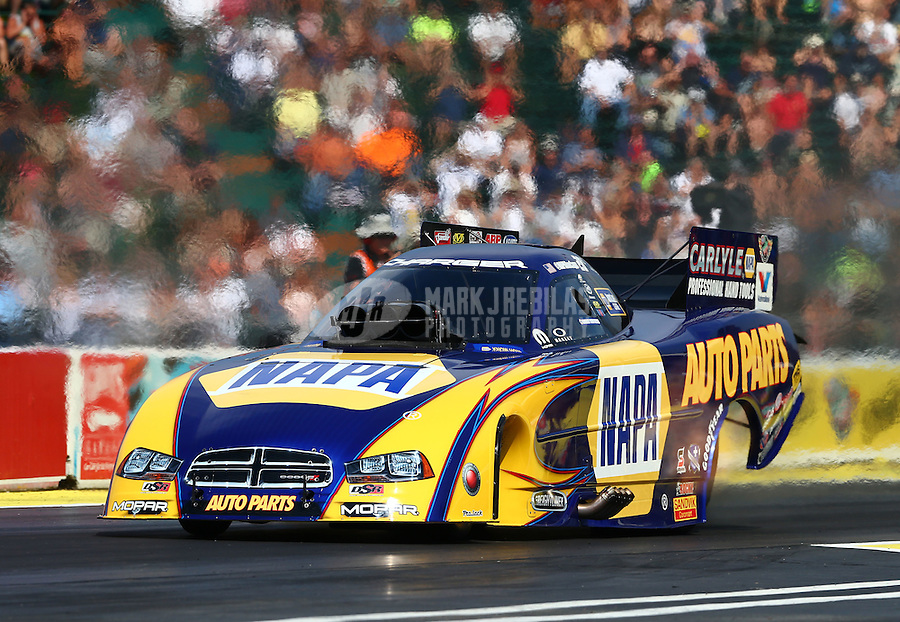 Aug. 1, 2014; Kent, WA, USA; NHRA funny car driver Ron Capps during qualifying for the Northwest Nationals at Pacific Raceways. Mandatory Credit: Mark J. Rebilas-USA TODAY Sports