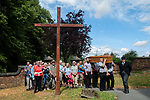 Brinsley Coffin Walk to Greasly Church, Nottinghamshire 2018. Joanne Hutsby from Gillotts Funeral Directors leads the walk from St James the Great Church built in1861.<br />