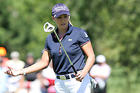Cristie Kerr reacts after missing her putt on the 4th hole at the 5th Annual Notah Begay III Foundation Challenge at Atunyote Golf Club in Vernon, New York on August 29, 2012