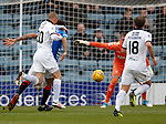 09.12.2018 Dundee v Rangers: Kenny Miller outmuscles Connor Goldson to get to the ball and scores