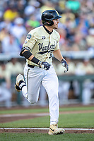 Vanderbilt Commodores outfielder JJ Bleday (51) runs to first base against the Michigan Wolverines during Game 3 of the NCAA College World Series Finals on June 26, 2019 at TD Ameritrade Park in Omaha, Nebraska. Vanderbilt defeated Michigan 8-2 to win the National Championship. (Andrew Woolley/Four Seam Images)