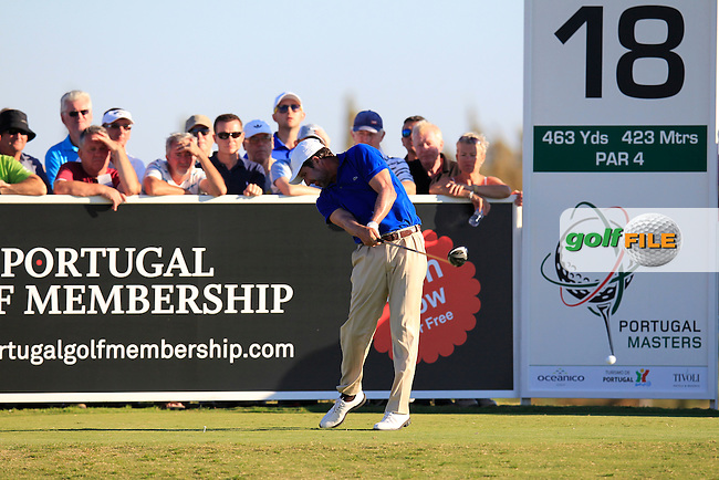 Jose Maria Olazabal (ESP) tees off the 18th tee during Friday's Round 2 of the 2013 Portugal Masters held at the Oceanico Victoria Golf Club. 11th October 2013.<br /> Picture: Eoin Clarke www.golffile.ie