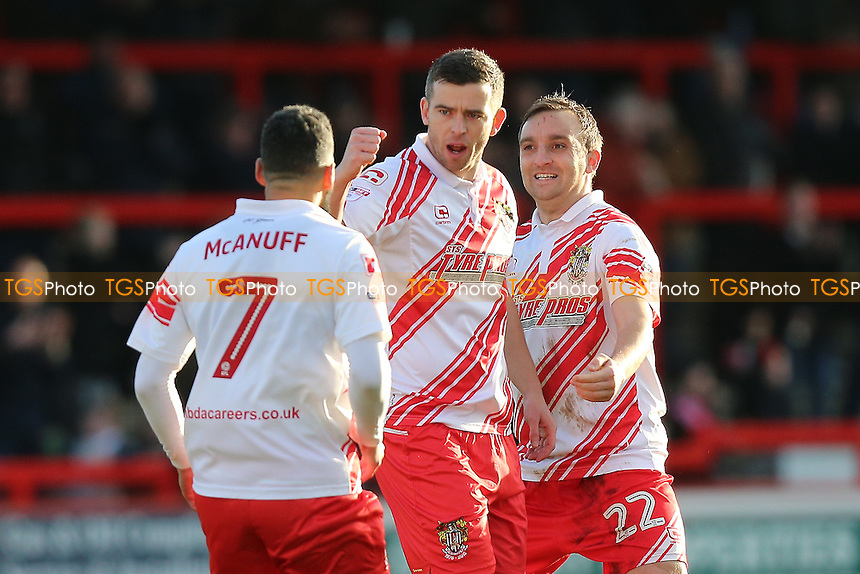 Steven Schumacher of Stevenage scores the first goal for his team and celebrates during Stevenage vs Grimsby Town, Sky Bet EFL League 2 Football at the Lamex Stadium on 28th January 2017