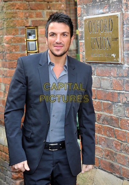 Peter Andre arrives at the Oxford Union prior to addressing the Student Debating Society, Oxford University, England..January 31st 2012.half length black blue grey gray suit shirt  stubble facial hair.CAP/JIL.©Jill Mayhew/Capital Pictures
