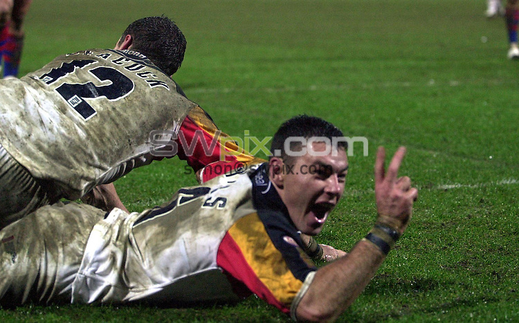Pix: Matthew Lewis/SWpix.com. International Rugby League. Bradford Bulls v Newcastle Knights. McAlpine Stadium, Huddersfield. 01/02/2002...COPYWRIGHT PICTURE>>SIMON WILKINSON>>01943 436649>>..Bradford's  Michael Withers celebrates his second try against Newcastle.