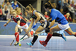 Berlin, Germany, February 10: During the FIH Indoor Hockey World Cup quarterfinal match between Germany (black) and Poland (red) on February 10, 2018 at Max-Schmeling-Halle in Berlin, Germany. Final score 3-1. (Photo by Dirk Markgraf / www.265-images.com) *** Local caption *** Lisa ALTENBURG #18 of Germany
