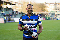 Man of the Match Aled Brew of Bath Rugby poses for a photo with his bottle of champagne. Aviva Premiership match, between Bath Rugby and Harlequins on November 25, 2017 at the Recreation Ground in Bath, England. Photo by: Patrick Khachfe / Onside Images
