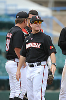 University of Louisville Cardinals manager Dan McDonnell (3) during a game against the Temple University Owls at Campbell's Field on May 10, 2014 in Camden, New Jersey. Temple defeated Louisville 4-2.  (Tomasso DeRosa/ Four Seam Images)