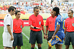 10 August 2008: Captains Ronaldinho (BRA) (right) and Ryan Nelsen (NZL) (left) meet for the pregame coin flip.  The men's Olympic soccer team of Brazil defeated the men's Olympic soccer team of New Zealand 5-0 at Shenyang Olympic Sports Center Wulihe Stadium in Shenyang, China in a Group C round-robin match in the Men's Olympic Football competition.