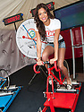 Miss Scotland 2013, Jamey Bowers, warms up as she prepares to take part in the cycle challenge as the Glasgow 2014 Commonwealth Games 1 year countdown begins.
