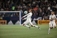 CARSON, CA - MARCH 07: Cristian Pavon #10  of the Los Angeles Galaxy traps a ball during a game between Vancouver Whitecaps and Los Angeles Galaxy at Dignity Health Sports Park on March 07, 2020 in Carson, California.