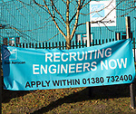 Recruitment banner advert recruiting engineers now Ball Aerocan, Devizes, Wiltshire, England, UK,