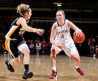Long Beach States Lauren Spargo guards Stanford's Taylor Greenfield during Saturday, November 25, 2012 game at Stanford. Stanford won 77-41.