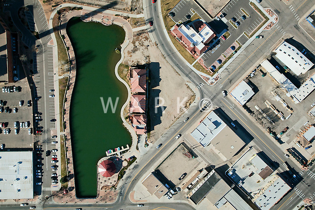 Vertical aerial of Lake Victoria on Pueblo's Riverwalk.
