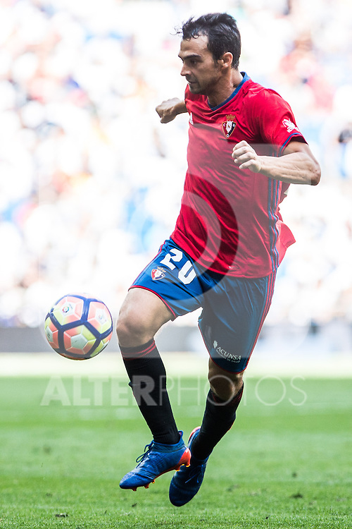 Club Atletico Osasuna's De Las Cuevas during the match of La Liga between Real Madrid and Club Atletico Osasuna at Santiago Bernabeu Estadium in Madrid. September 10, 2016. (ALTERPHOTOS/Rodrigo Jimenez)
