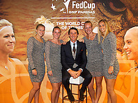 The Netherlands, Den Bosch, 16.04.2014. Fed Cup Netherlands-Japan, Team Netherlands,l.t.r.: Michaella Krajicek,Richel Hogenkamp, Captain Paul Haarhuis, Kiki Bertens and Arantxa Rus.<br /> Photo:Tennisimages/Henk Koster