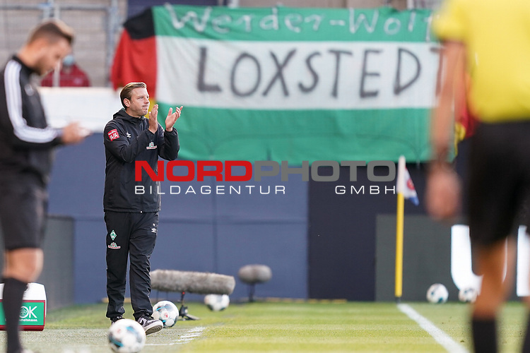 Jubel Florian Kohfeldt (Trainer SV Werder Bremen)<br /> <br /> <br /> Sport: nphgm001: Fussball: 1. Bundesliga: Saison 19/20: Relegation 02; 1.FC Heidenheim vs SV Werder Bremen - 06.07.2020<br /> <br /> Foto: gumzmedia/nordphoto/POOL <br /> <br /> DFL regulations prohibit any use of photographs as image sequences and/or quasi-video.<br /> EDITORIAL USE ONLY<br /> National and international News-Agencies OUT.