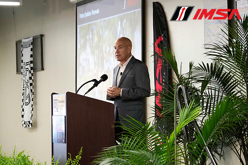 IMSA WeatherTech SportsCar Championship<br /> Continental Tire Road Race Showcase<br /> Road America, Elkhart Lake, WI USA<br /> Friday 4 August 2017<br /> IMSA schedule announcement with CEO Scott Atherton<br /> World Copyright: Michael L. Levitt<br /> LAT Images