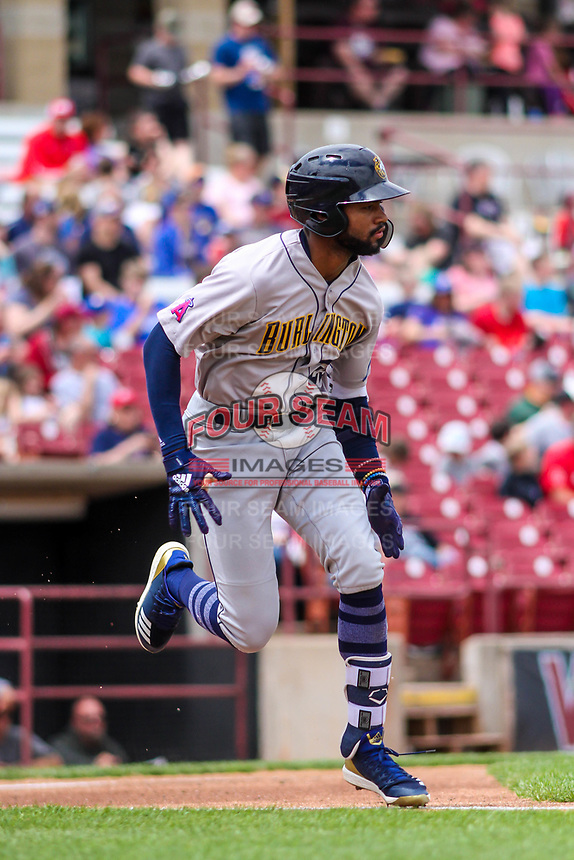 Burlington Bees outfielder Jo Adell (25) runs to first base during a Midwest League game against the Wisconsin Timber Rattlers on May 19, 2018 at Fox Cities Stadium in Appleton, Wisconsin. Wisconsin defeated Burlington 1-0. (Brad Krause/Four Seam Images)