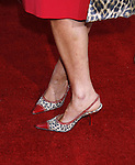 """Actress Jennifer Grey 's shoes at the """"Iron Man"""" premiere at Grauman's Chinese Theatre on April 30, 2008 in Hollywood, California."""