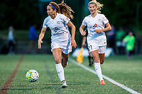 Allston, MA - Sunday, May 22, 2016: FC Kansas City forward Shea Groom (2) and FC Kansas City defender Katie Bowen (21) during a regular season National Women's Soccer League (NWSL) match at Jordan Field.