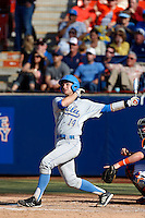Shane Zeile #14 of the UCLA Bruins bats against the Cal State Fullerton Titans during the NCAA Super Regional at Goodwin Field on June 7, 2013 in Fullerton, California. UCLA defeated Cal State Fullerton, 5-3. (Larry Goren/Four Seam Images)