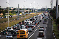 View of morning rush hour traffic on Mopac Expressway (Texas State Highway Loop 1) from an overpass, Austin, Texas.