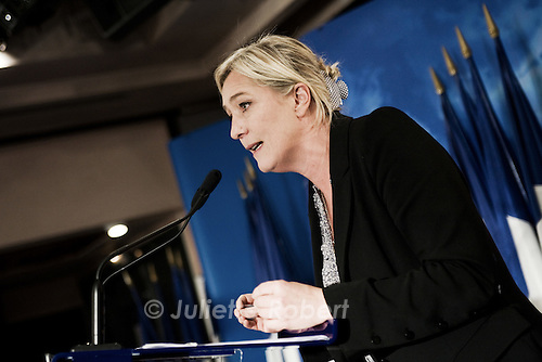 Marine Le Pen au colloque du club Idees Nation, le 29 septembre 2011, a Paris.