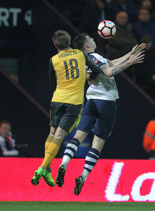 Preston North End's Jordan Hugill battles with Arsenal's Nacho Monreal<br /> <br /> Photographer Mick Walker/CameraSport<br /> <br /> Emirates FA Cup Third Round - Preston North End v Arsenal - Saturday 7th January 2017 - Deepdale - Preston<br />  <br /> World Copyright &copy; 2017 CameraSport. All rights reserved. 43 Linden Ave. Countesthorpe. Leicester. England. LE8 5PG - Tel: +44 (0) 116 277 4147 - admin@camerasport.com - www.camerasport.com
